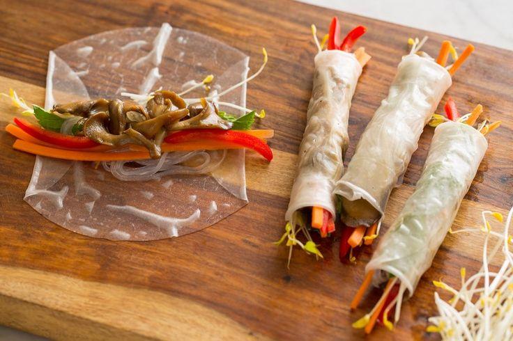 Tamari Glazed Maitake Spring Rolls | Spoon Fork Bacon: Rice Paper Wraps, Glaze Maitak, Forks Bacon, Maitak Spring, Spring Roll Recipes, Summer Rolls, Healthy, Spring Rolls, Rolls Recipe