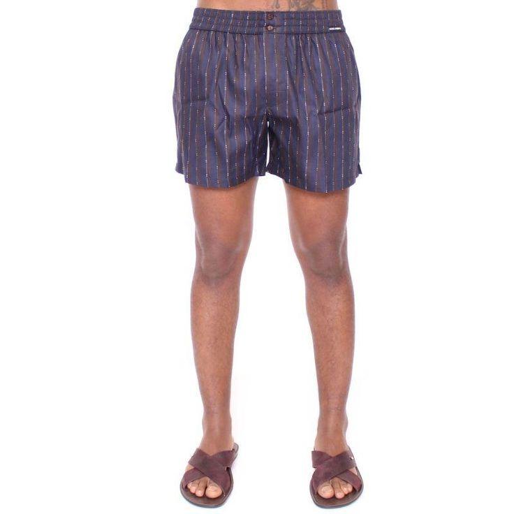 Dolce & Gabbana Blue Striped SILK Pajama Shorts Sleepwear