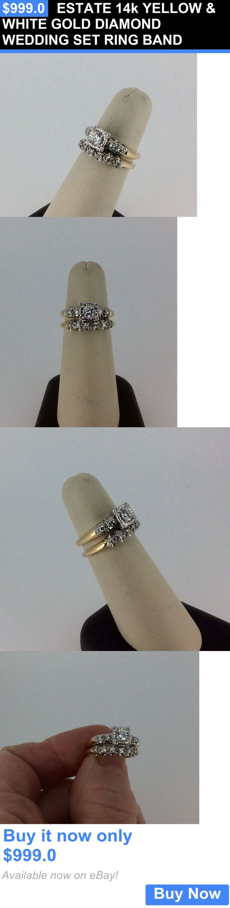 jewelry: Estate 14K Yellow And White Gold Diamond Wedding Set Ring Band BUY IT NOW ONLY: $999.0