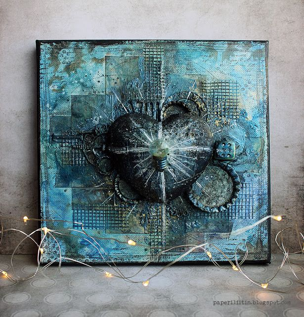 Third time's the charm | a mixed media collage canvas created by Riikka