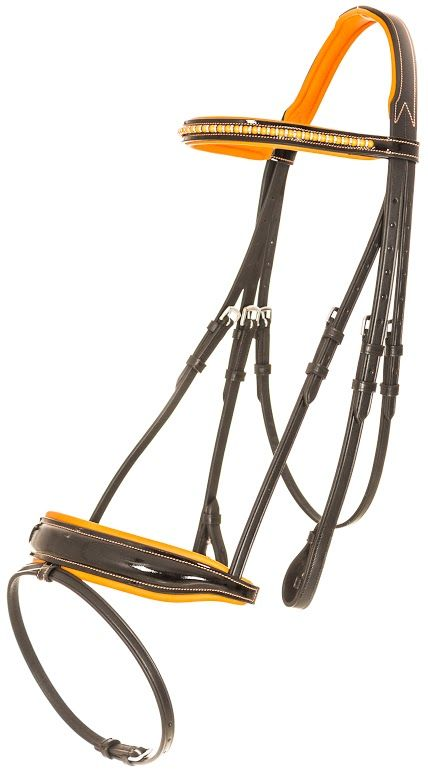 Beautiful black and bright orange bridle, the browband and noseband are patent black leather with Swarovski crystals in the browband. Simply stunning.
