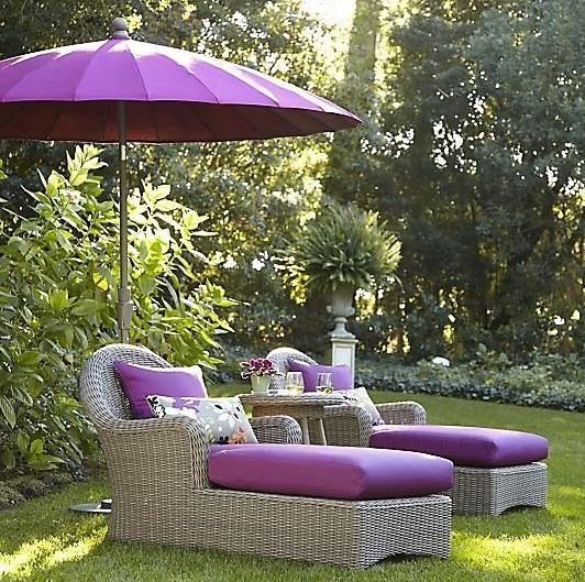 While not the colour everyone would choose for their outdoor furniture, purple is a lovely combination with green.