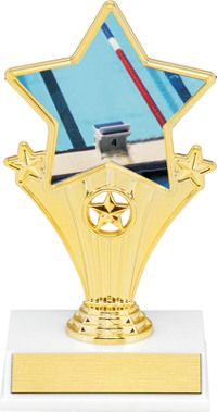 Swimming Super Star Trophy | Dinn Trophy New! Swimming super star trophy. Featuring 40 letters of free trophy personalization, this trophy is an unbeatable value ($0.10 per additional character)!