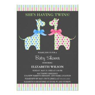 Giraffe Twins Baby Shower Invitation #giraffes #twins