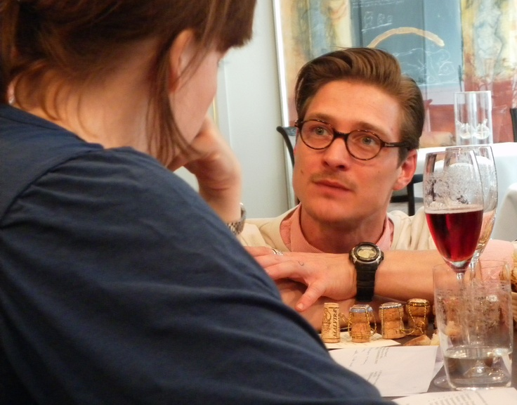 Alex is not proposing - just talking passionately about champagne @Restaurant CLOU