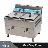 MARCHEF 34L Double Tank Professional Kitchen Equipment Double Tanks Gas Industrial Deep Fryer