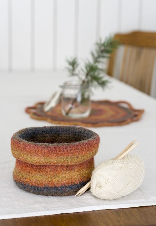 Novita felting ideas, basket made with Novita Joki (River) yarn #novitaknits https://www.novitaknits.com/en