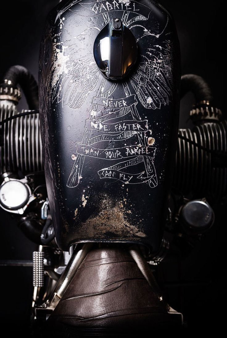 Etched paint on BMW motorbike gasoline tank