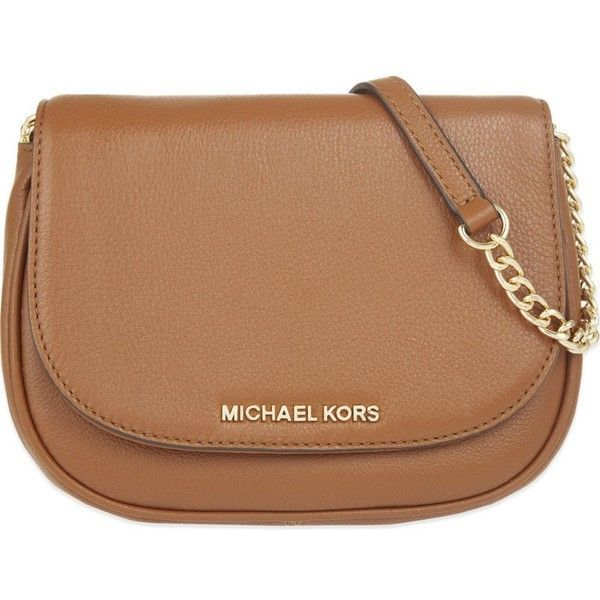 MICHAEL MICHAEL KORS Bedford small leather cross-body bag found on Polyvore featuring bags, handbags, shoulder bags, luggage, leather crossbody purse, leather shoulder bag, flap crossbody, leather shoulder handbags and leather purse