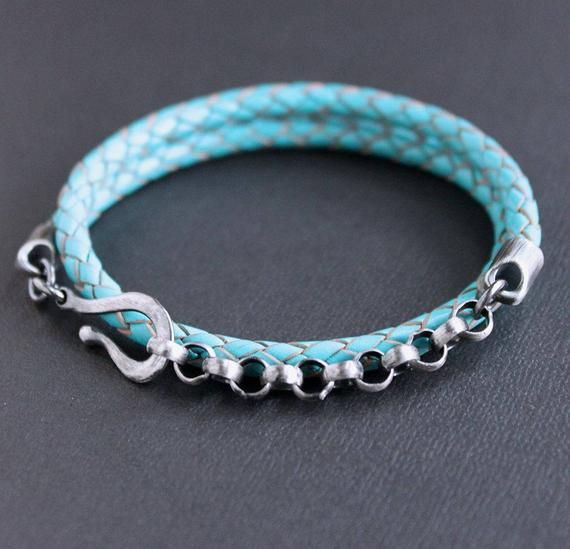 Mens Wrap Bracelet, Leather and Silver Chain Bracelet, Blue Leather Bracelet   – Products