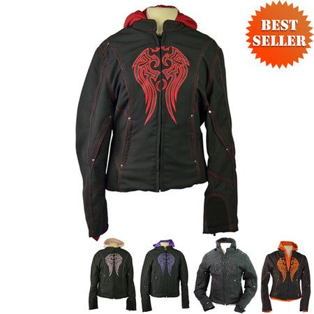 Women's Motorcycle Jacket with Hoody
