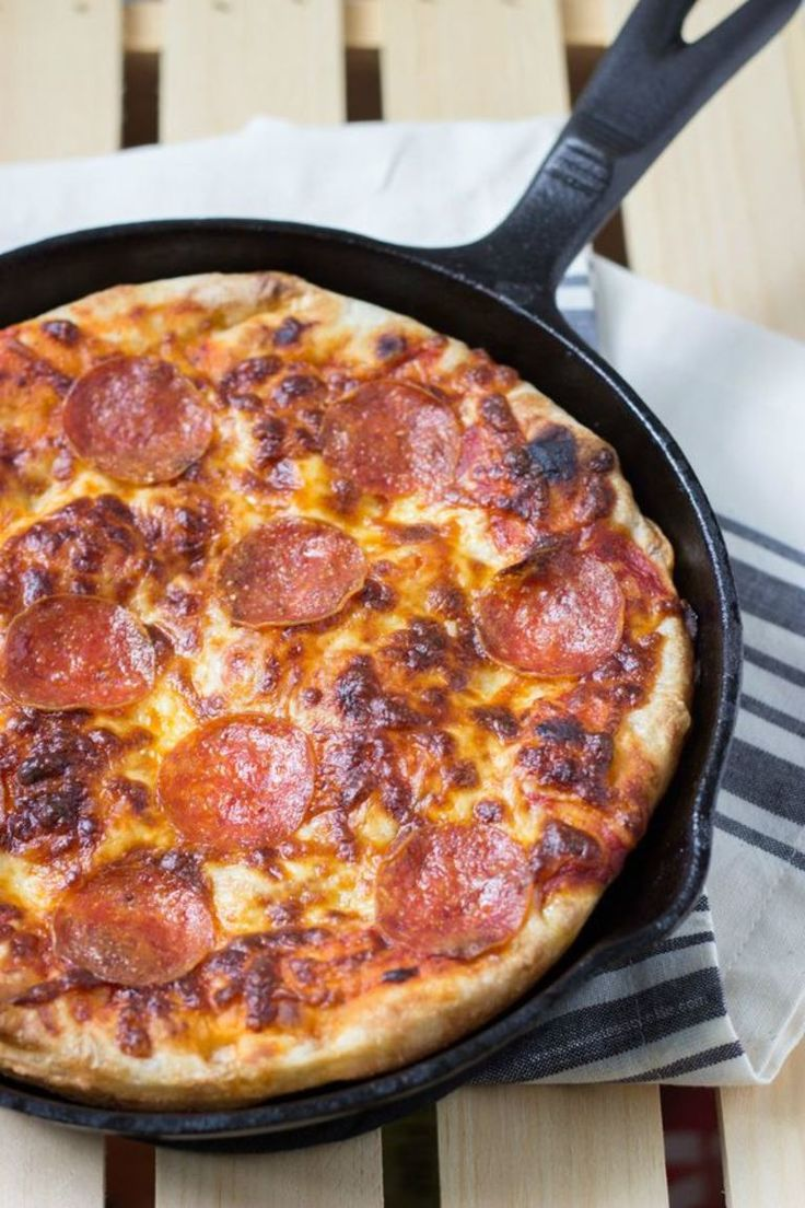 The BEST Cast Iron Pizza - You'll never want to order take out again! | sweetasacookie.com