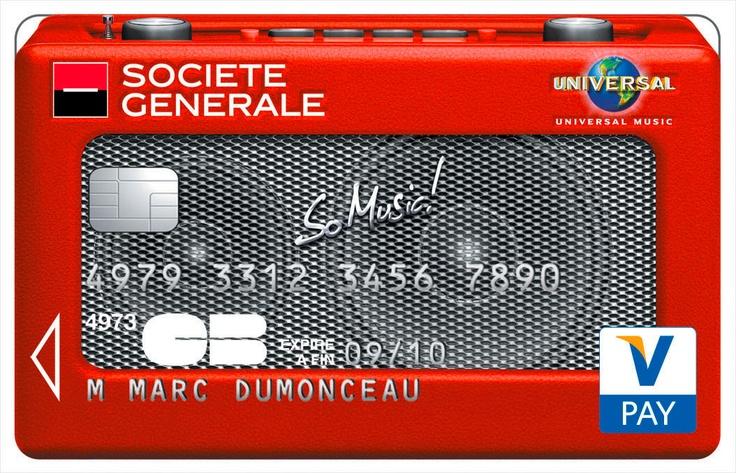 Super Carte Visa So Music Société Générale. #Casque | Cartes Collection  LE45