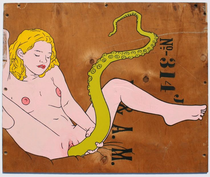 Octopussy_pop_art_style_acrylic_painting_and_sharpie_line_drawing_of_woman_masterbating_with_green_octopus_tentacle_on_old_plywood_packing_crate_by_artist_wayne_chisnall.JPG (1600×1352)