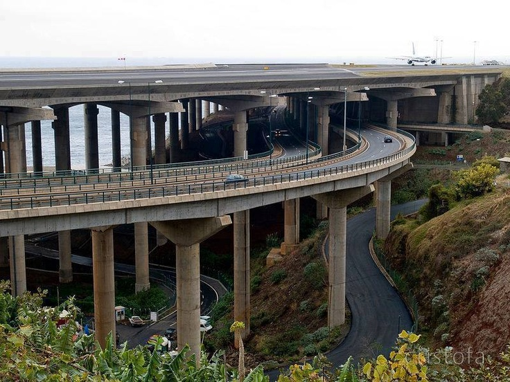 Funchal airport runway crosses a motorway and Road intersection, Madeira