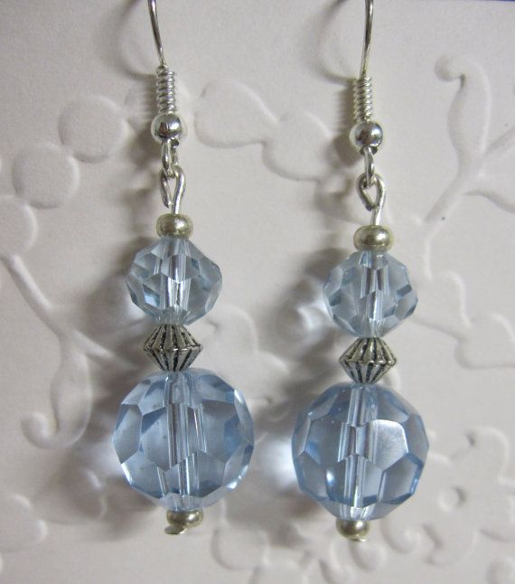 Blue Crystal drop Earrings with Silver fittings