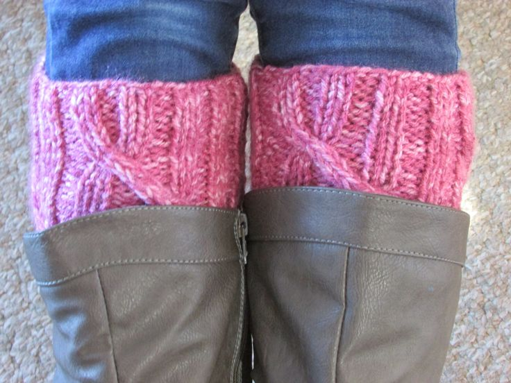 Pink Boot Cuffs - Boot Toppers - Knitted Boot Cuffs -  Women's Boot Cuffs - Cable Boot Toppers - Knitted Leg Warmers by MomsGiftShoppe on Etsy