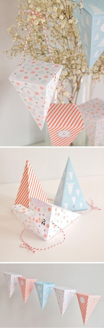 """un calendrier de l'Avent dont les boîtes """"pyramides"""" pourront être utilisées séparément, pour des petits cadeaux..."""