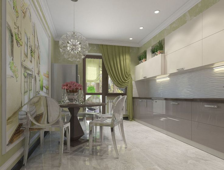 Дизайн кухни с зелеными обоями: 55 современных фото в интерьере-3