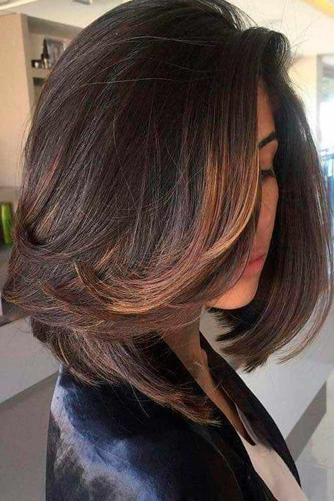 Fluffy Ends On A Medium Length Haircut #hairhighlights ★ If you are after medium length hairstyles that are both easy and trendy, check out our collection. Here you will find an option for women with any type of hair, for thick hair and fine, straight and wavy, with layers and even. #glaminati #hairstyles #mediumlengthhairstyles