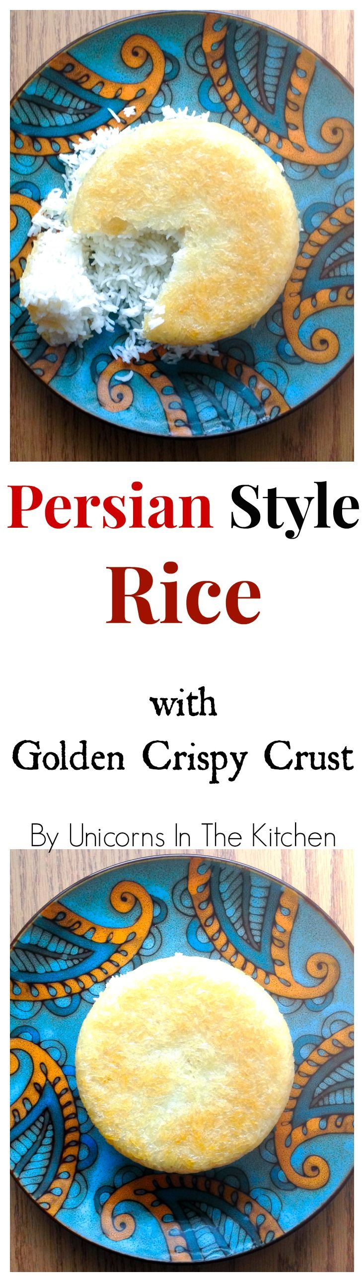 Persian Style Rice with Crispy Golden Crust is the base for many Persian Dishes!
