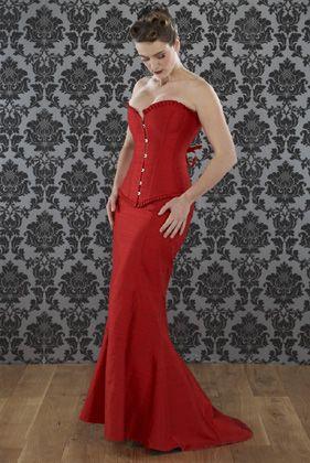 Longline silk corset and skirt