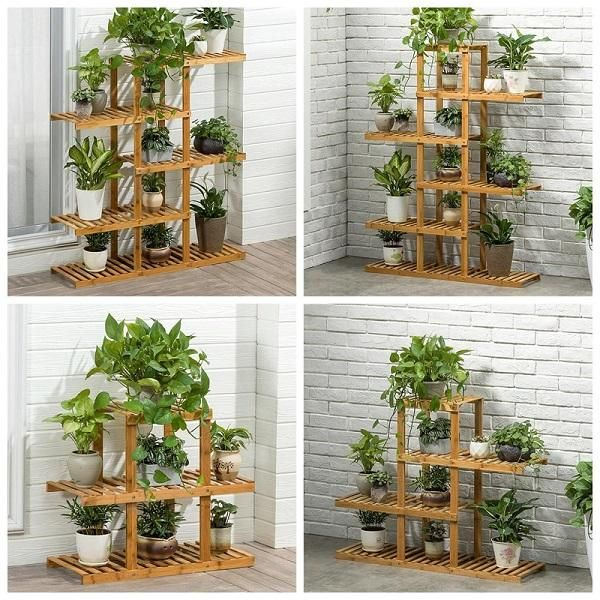 Heavy Duty Flower Planter Solid Multiple Tier Plant Stand Long Bamboo Flower Rack Table Outdoor Shelf For Plants Modern Outdoor Shelves Wooden Plant Stands Plant Shelves
