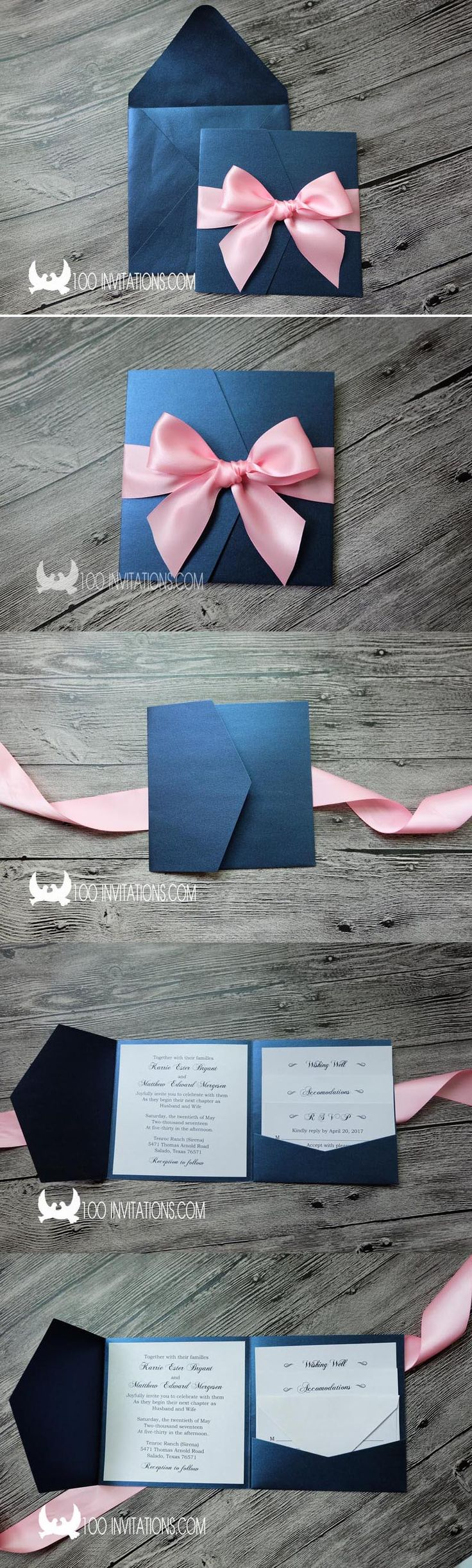 Navy Blue and Pink Shimmer Pocket Fold Wedding Invitations