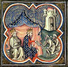 Philippe Auguste et Richard Coeur de Lion reçoivent les clés d'Acre - Grandes Chroniques de France - BNF Paris
