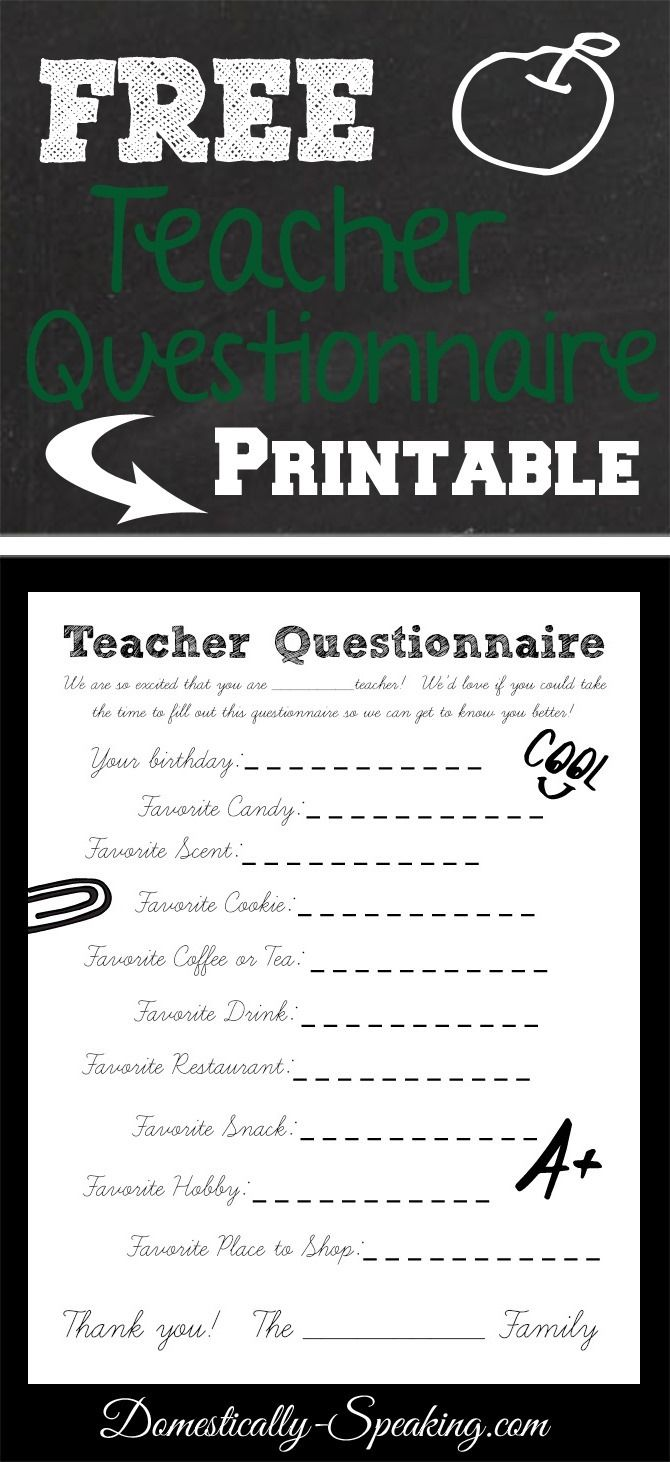 FREE Printable ~ Teacher Questionnaire: Get to Know Your Teacher