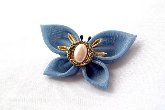 Elegant Blue and Gold Kanzashi Butterfly Hair Clip