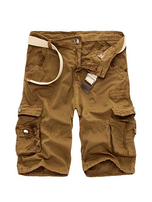 Zipper Fly Cotton Blends Multi-Pockets Straight Leg Cargo Shorts For Men #CLICK! #clothing, #shoes, #jewelry, #women, #men, #hats, #watches