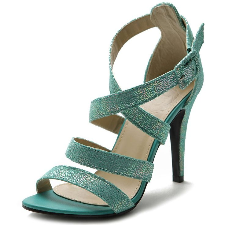 Ollio Women's Shoe High Heel Cross Strap Sandal: Shoes: