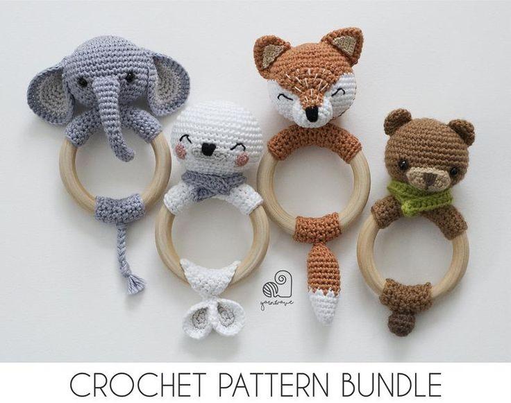 CROCHET PATTERN BUNDLE crochet amigurumi fox elephant seal bear rattle teether ring / Handmade baby shower newborn gift