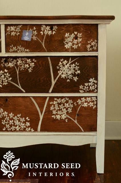 For Scottie: I think it would be cute to do something like this with the dressers! Maybe you could do a paisley to match your bedspread. :) (Miss Mustard Seed)