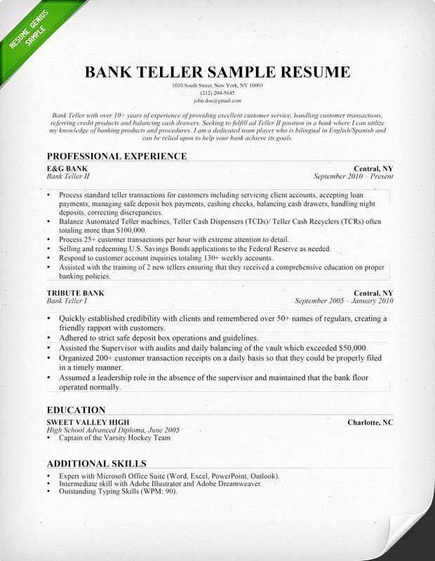 Bank Teller Responsibilities Resume Unique Bank Teller Job Description For Resume