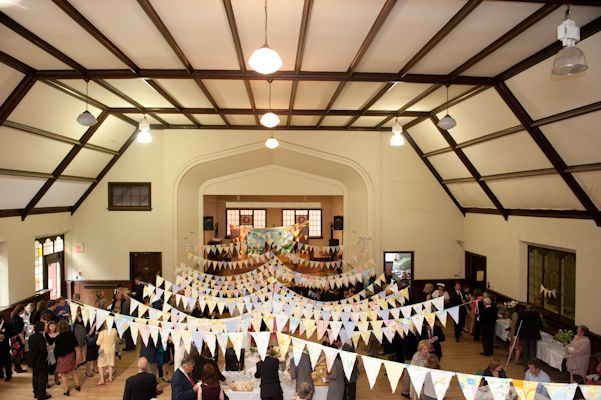 Our wedding reception venue: Bate Hall in Ottawa. Photo by AMB photo, lovely bunting!