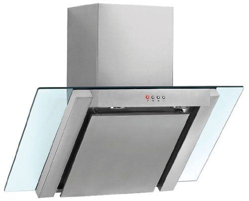 Baumatic BE600GL Angled Stainless Steel And Glass 60cm Wide Chimney Cooker Hood