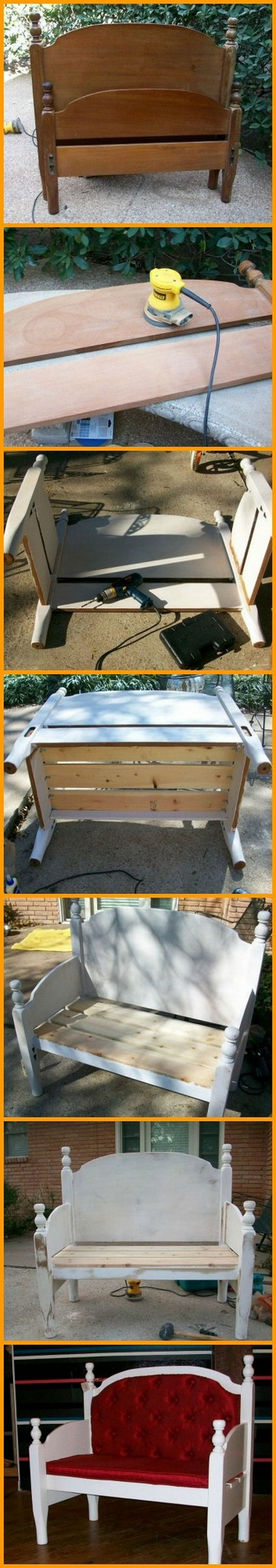 This bench is made from a repurposed headboard and footboard! You can view how it's made in this album here: http://theownerbuildernetwork.co/cxvj Got an old bed frame that has seen better days?