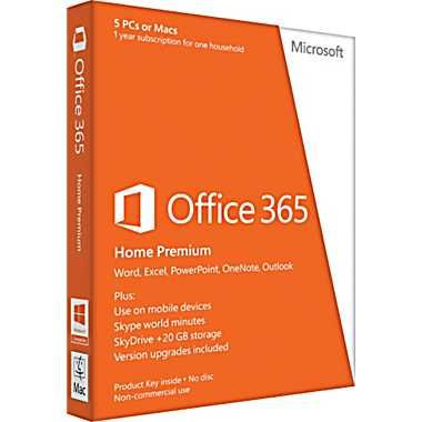 Microsoft Office 365 Home Premium 32/64-bit - $99.99  Welcome to the next generation of Office, a powerful service that keeps you connected whether you're at home or on the go. Simply sign into Office 365 Home Premium (non-commercial use only) to open your applications, documents, and custom settings on any PC (PC running Windows 7 or 8 and Internet connection required). Combine Office with Windows 8 for the best experience yet, with even more ways to work the way you want.