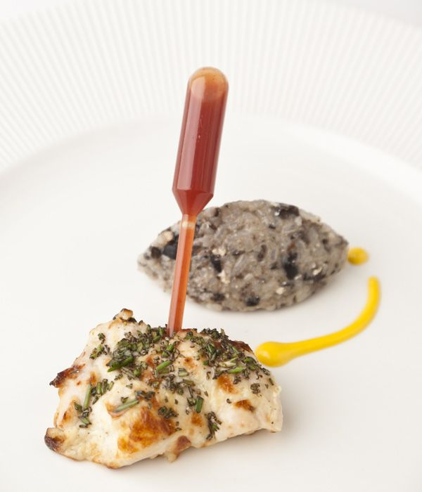 This exciting chicken tikka dish is served with a pipette full of chilli sauce, so you can perfectly control the flavours and impress guests - Vineet Bhatia
