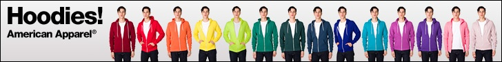 American Apparel advertising hoodies - rainbow!