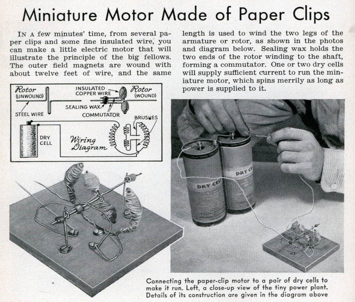 How to make a miniature motor made of paper clips