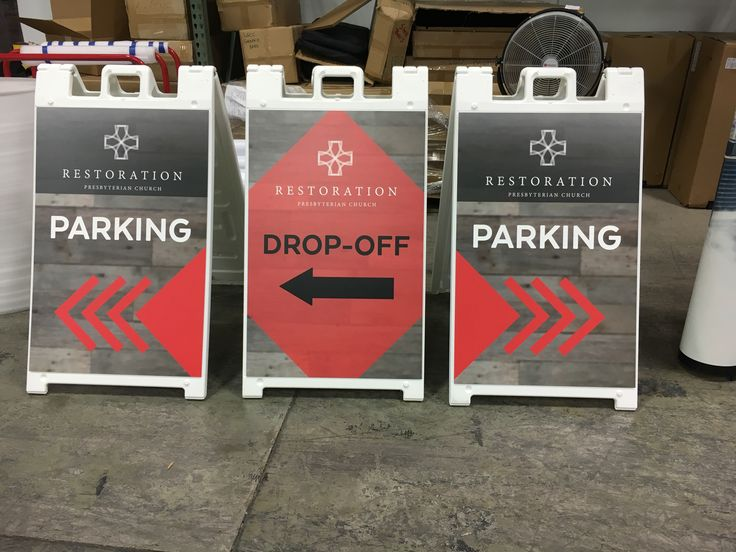 Restoration Church (Buford, GA) is a new church plant that meets in a school cafeteria. Sidewalk-style signs are versatile; can be used inside or outdoors. The weatherproof graphic is velcro'd to the frame, so changing the message takes just seconds.