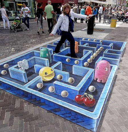 3D Pac-Man by Leon Keer  3D street painting by talented artist Leon Keer was inspired by the Pac-Man arcade game from 1980s.