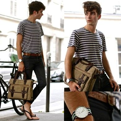 Craft & Commerce Striped T Shirt, Daniel Wellington Nottingham Watch, Clarks Canvas & Leather Holdall Bag, Asos Skinny Jeans