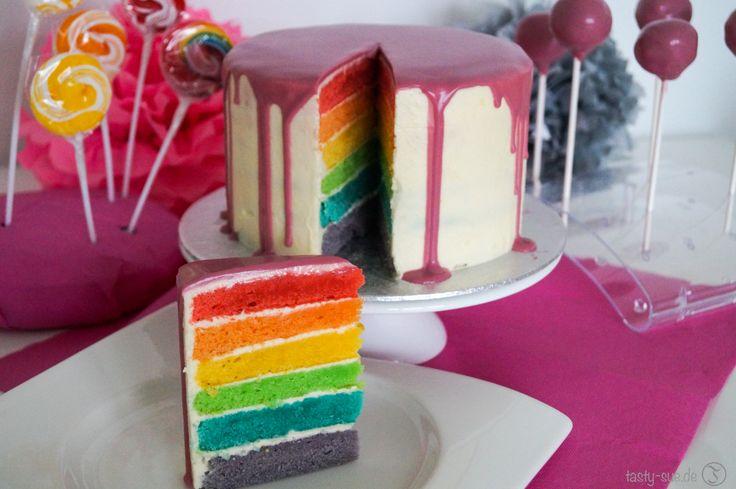 Dripping Rainbow Cake – Regenbogenkuchen mit Trendglasur – Torten