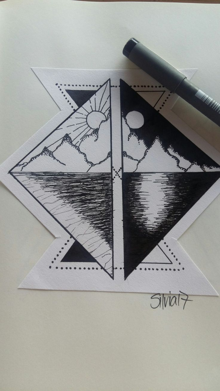 Day and Night/ Moon and Sun/  Mountain Geometry/ Tattoo idea