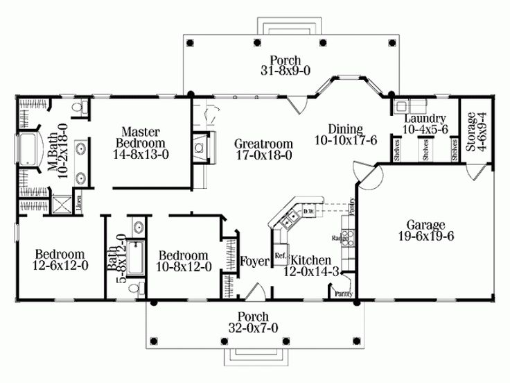 rectangle single level house plans
