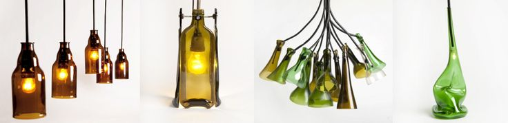 SHAPE THE FUTURE   Recycled lamps project, processed manually using beer bottles, olive oil and wine bottles.